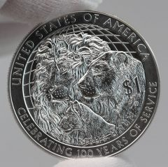 2017-P Uncirculated Lions Clubs International Centennial Silver Dollar Reverse Photo,b