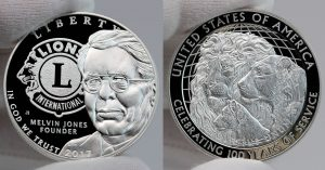2017 Proof Lions Clubs International Centennial Silver Dollar - obverse and reverse