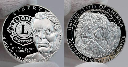 2017 Proof Lions Clubs International Centennial Silver Dollar - obverse and reverse