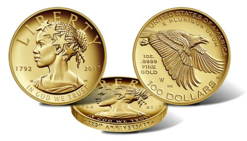 2017-W $100 American Liberty 225th Anniversary Gold Coin, Obverse, Edge and Obverse