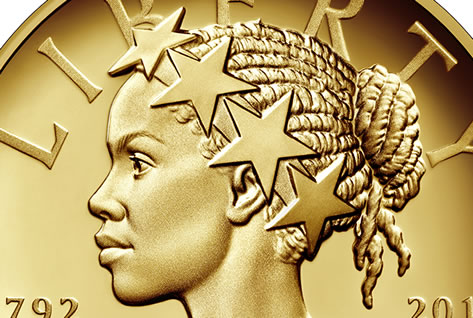 Coin portrays Lady Liberty as woman of color for first time