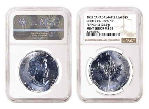 2005 $5 Silver Maple Leaf Error