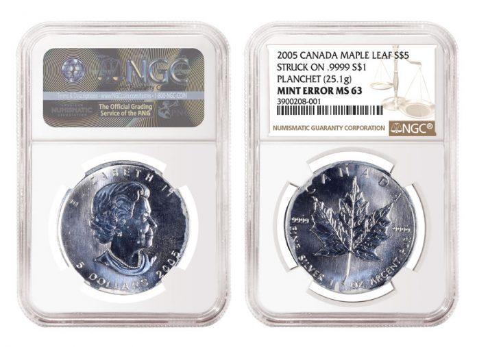 2005 $5 Silver Maple Leaf Error