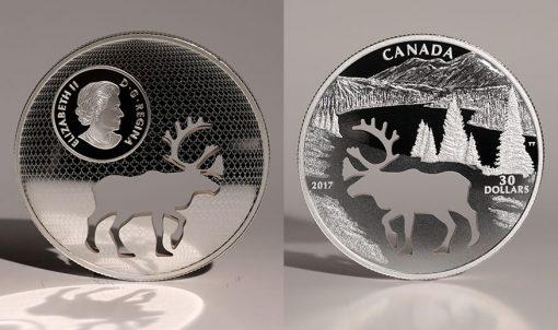 2017 $30 Woodland Caribou Cutout Silver Coin