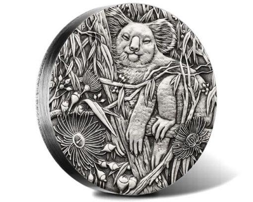2017 Australian Koala 2oz Silver High Relief Antiqued Coin