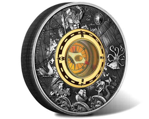2017 Compass 2oz Silver Antiqued Coin