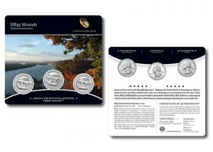 Effigy Mounds Quarters for Iowa in Three-Coin Set