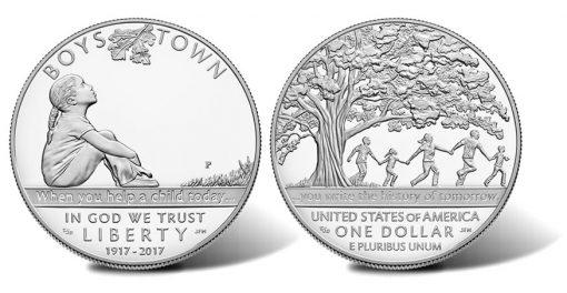 2017-P Proof Boys Town Centennial Silver Dollar