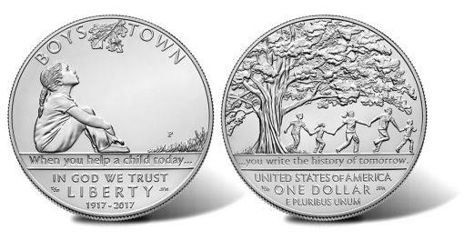 2017-P Uncirculated Boys Town Centennial Silver Dollar
