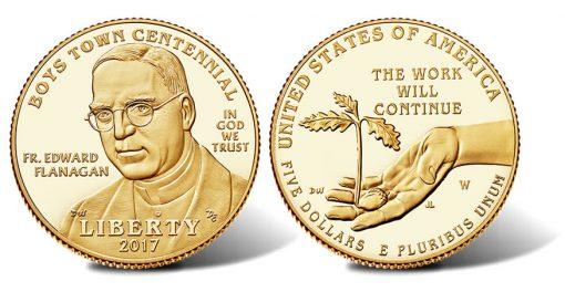 2017-W $5 Proof Boys Town Centennial Gold Coin
