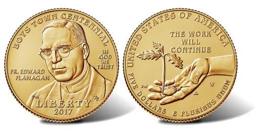 2017-W $5 Uncirculated Boys Town Centennial Gold Coin