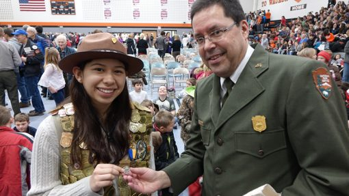 Junior Ranger Aida Frey and Superintendent Jim Nepstad