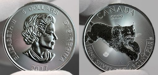2017 $5 Canadian Lynx 1 oz Silver Coin-Obverse and Reverse