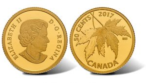 Canadian 2017 50c Gold Coin Features Silver Maple Leaf Designs