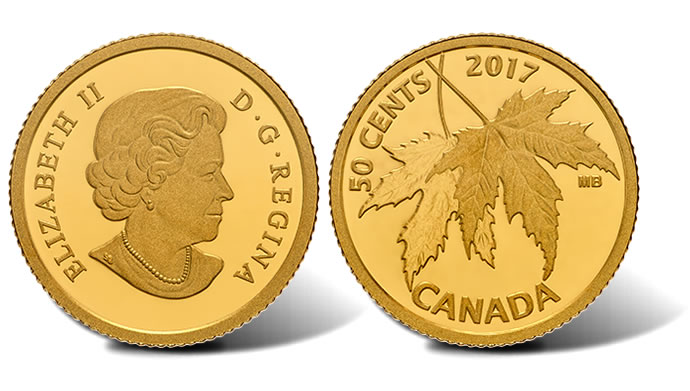 Canadian 2017 50c Gold Coin Features Silver Maple Leaf