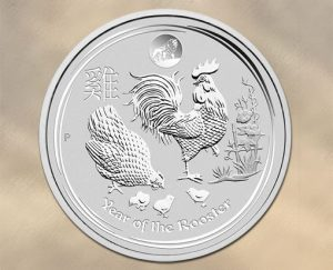2017 Australian Lunar Rooster Coin with Lion Privy Mark