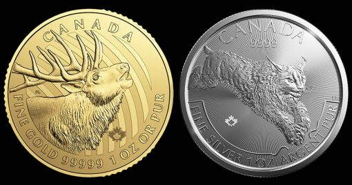 2017 Elk Gold Coin and 2017 Lynx Silver Coin