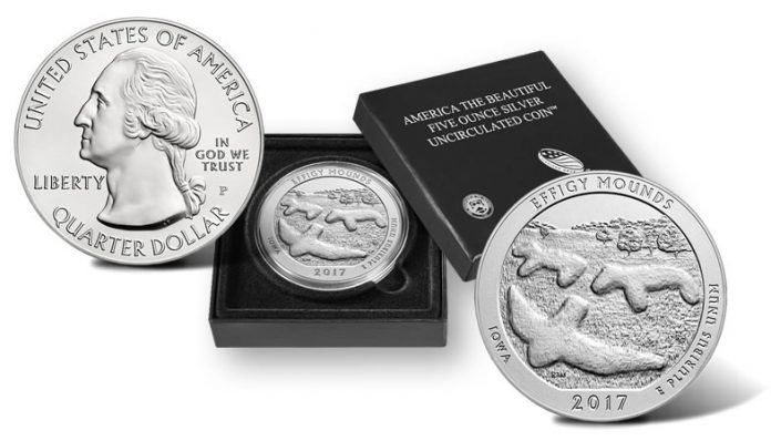 2017-P Effigy Mounds National Monument Five Ounce Silver Uncirculated Coin and Presentation Case