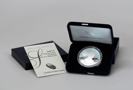 2017-W Proof American Silver Eagle, coin, case and cert