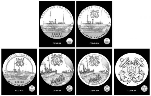 Coast Guard Silver Medal Design Candidates - Reverses
