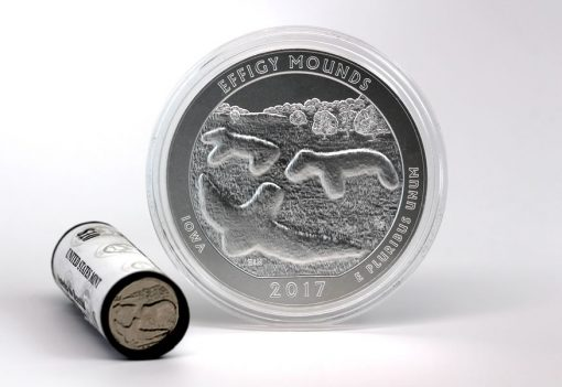 Effigy Mounds Quaters and 5 ounce Silver Uncirculated Coin