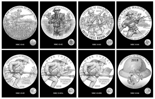 Marines Silver Medal Design Candidates - Obverses