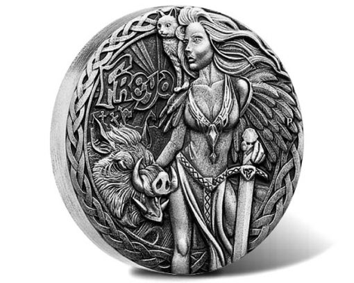 Norse Goddesses 2017 Freya 2oz Silver Antiqued High Relief Coin