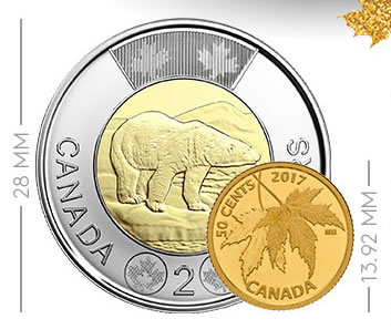 Size of 2017 50c Silver Maple Leaf Gold Coin