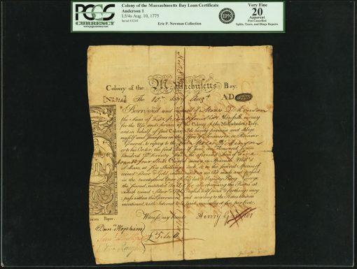 1775 Massachusetts Bay Colony 5 Pounds 4 Shillings Bond