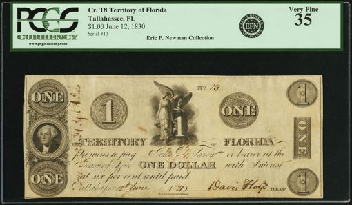 1830 Territory of Florida $1 Note