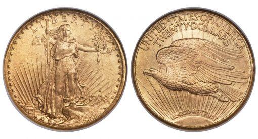 1908-S $20 Saint-Gaudens Double Eagle MS66 NGC