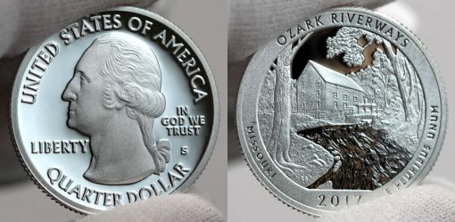 2017-S Silver Proof Ozark National Scenic Riverways Quarter - Obverse and Reverse