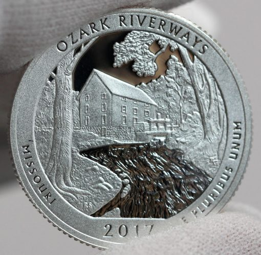 2017-S Silver Proof Ozark National Scenic Riverways Quarter, Reverse