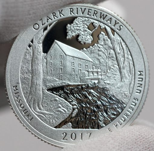 2017-S Silver Proof Ozark National Scenic Riverways Quarter, Reverse-b