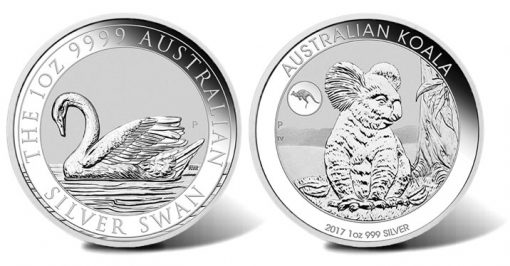 2017 Silver Swan Bullion Coin, Koala Bullion Coin with Kangaroo Privy