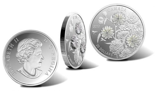 Canadian 2017 $20 Pearl Flowers 1 oz. Silver Coin
