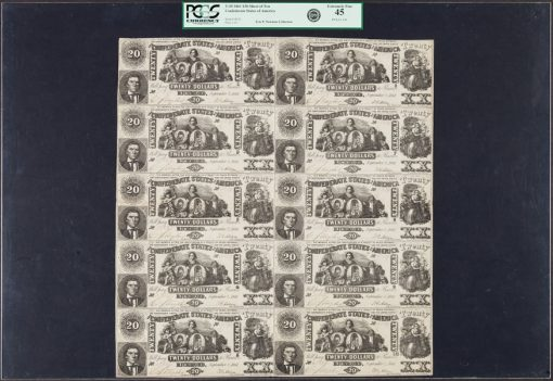 Confederate Sheet of 10 T20 $20 Notes