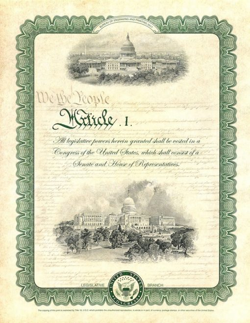 Constitution Series 2017 Legislative Intaglio Print