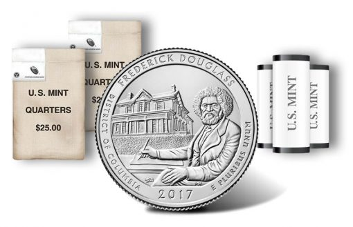 Frederick Douglass quarters, rolls and bags