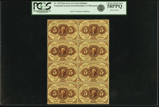 Perforated Block of Eight First Issue Fr.1229 5-Cent Notes