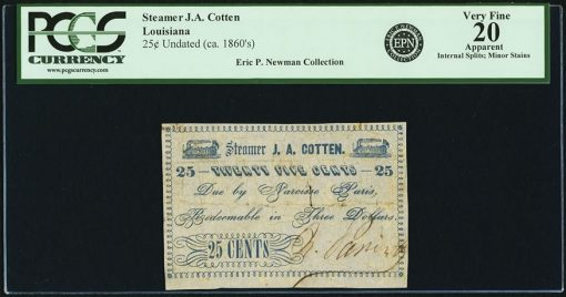 Undated Steamer J.A. Cotten 25 Cents Note