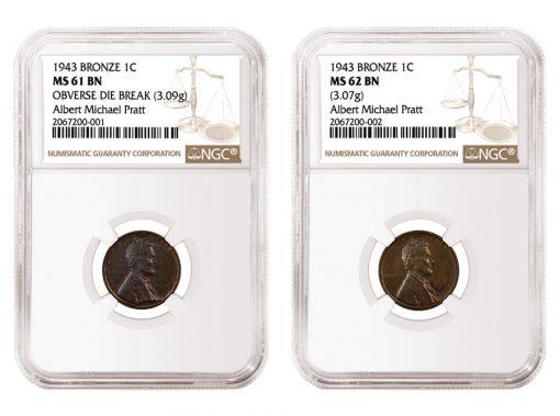 1943 Bronze cent - MS61BN and 1943 Bronze cen -MS62BN