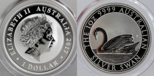 2017 Australian Silver Swan 1oz Bullion Coin - Obverse and Reverse