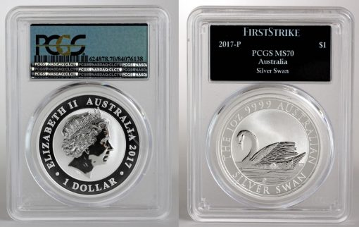 2017-P Australian Silver Swan 1oz Bullion Coin, PCGS MS70