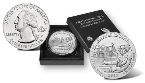 2017-P Frederick Douglass National Historic Site Five Ounce Silver Uncirculated Coin and Presentation Case