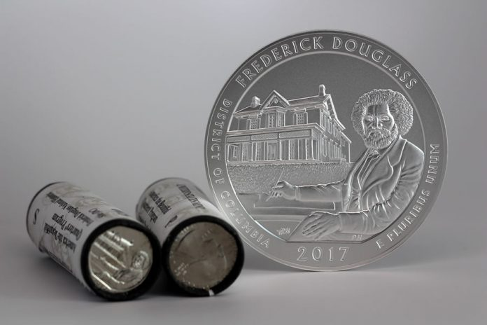 2017-P Frederick Douglass National Historic Site Five Ounce Silver Uncirculated Coin and Quarters