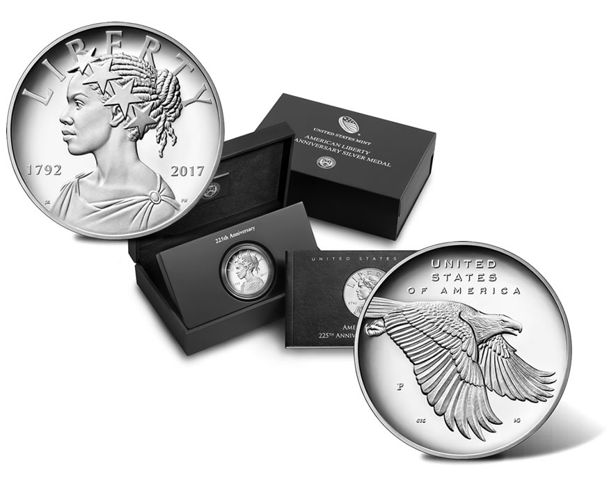 2017-P US 225th Anniversary American Liberty Silver Medal Proof