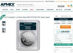 APMEX Promotes CoinGrade+ with Silver Swan Coin Contest