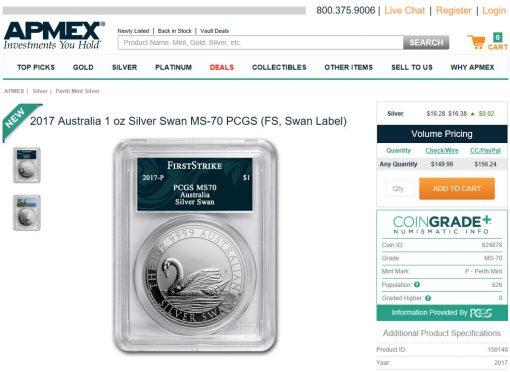 APMEX - Silver Swan