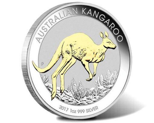 Australian Kangaroo 2017 1oz Silver Gilded Coin